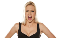 Blond screaming Royalty Free Stock Image