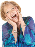 Blond Senior Woman Screaming Royalty Free Stock Photography