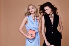 Blond sexig härlig kvinna två och glamour M för lockigt hår för brunett Fotografering för Bildbyråer