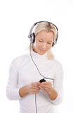 blond sexig hörlurarspelare royaltyfria foton