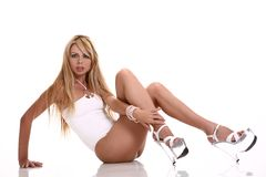 blond sexig kvinna Royaltyfri Fotografi