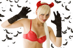 Blond sexy devil Stock Photography