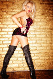 Blond sexy sur un mur d'or images stock