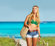 Blond sexy tourist girl in tropical beach Formentera Stock Photography