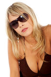 Blond sexy woman with sunglasses Royalty Free Stock Photos