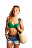 Blond short jeans sexy tourist woman going beach Stock Photography