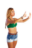 Blond short jeans sexy woman selfie tablet photo Royalty Free Stock Photography