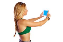 Blond short jeans sexy woman selfie tablet photo Stock Photography