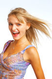 Blond shout girl Stock Photos