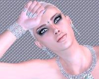 Blond skönhet mot en abstrakt bakgrund för diamant och för silver royaltyfria bilder