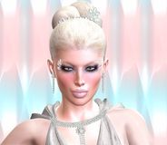 Blond skönhet mot en pastellfärgad abstrakt bakgrund arkivfoto