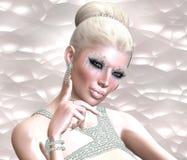 Blond skönhet mot en pastellfärgad abstrakt bakgrund vektor illustrationer