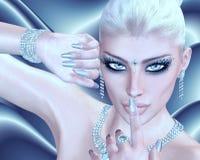 Blond skönhet mot en svartvit abstrakt bakgrund royaltyfria foton