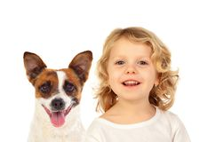 Blond small child with his dog. Isolated on a white background Royalty Free Stock Images