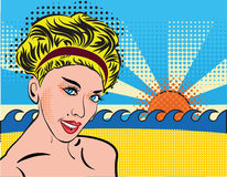 Blond smiley girl relax on the beach. Bohemian retro chic lady in pop art style. Portrait of a girl blonde with curvy Stock Photography