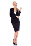 Blond smiling businesswoman standing isolated on white Royalty Free Stock Photos