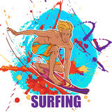 Blond smiling surfer in trunks on a grunge background Royalty Free Stock Photography