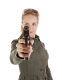 Blond soldier girl with gun Royalty Free Stock Photo