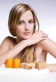 Blond spa beauty. stock photo