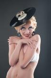 blond stiftplattporttait stylised upp kvinna Arkivbilder