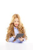 Blond student kid with ebook tablet pc portrait Royalty Free Stock Images
