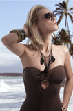 Blond summer girl with sunglasses Royalty Free Stock Photography