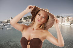 Blond summer woman with hat Stock Photos
