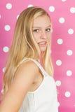 Blond teen girl. Studio portrait blond teen girl Royalty Free Stock Photo