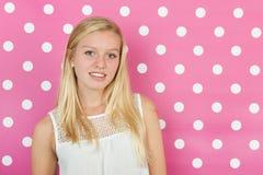 Blond teen girl. Studio portrait blond teen girl Stock Photo