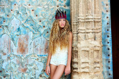 Blond teen girl tourist in Mediterranean old town Royalty Free Stock Images