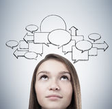 Blond teen s head and empty speech bubbles stock images