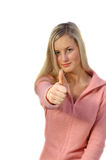 Blond teen with thumb up Royalty Free Stock Photos