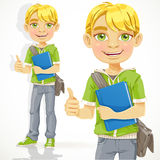 Blond teenage boy with a textbook Stock Photography