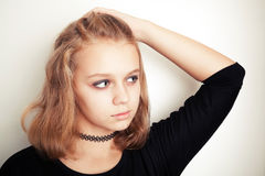 Blond teenage girl in black tattoo choker Royalty Free Stock Image