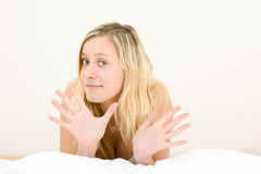 Blond teenage girl gesturing Royalty Free Stock Photo