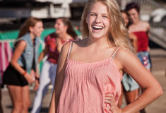 Blond Teenage Girl Laughing Royalty Free Stock Images