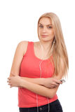 Blond teenage girl listen music Stock Photography