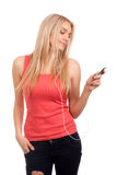 Blond teenage girl listen music Stock Photos