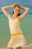 Blond teenager at the beach Stock Images