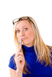 Blond teenager with pen Royalty Free Stock Photography
