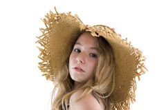 Blond teenager with straw hat Royalty Free Stock Photos