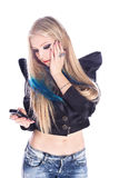 blond telefon Arkivfoto