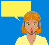 Blond telephone operator. Beautiful blond telephone operator with earphone,  illustration with blank balloon Stock Images