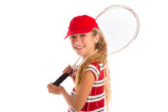 Blond tennis girl with pad and red cap smiling Stock Image