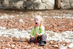 Blond toddler girl crying Royalty Free Stock Photo