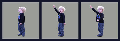 Blond Toddler Pointing Series Stock Image
