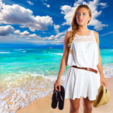 Blond tourist girl in Es Trenc beach of Mallorca Stock Images