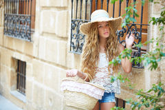 Blond tourist girl in mediterranean old town Royalty Free Stock Photo
