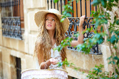 Blond tourist girl in mediterranean old town Royalty Free Stock Photography