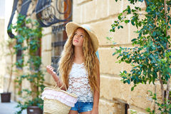 Blond tourist girl in mediterranean old town Stock Photography